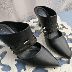 Tahari Black Leather Slip On Heel- Katrina